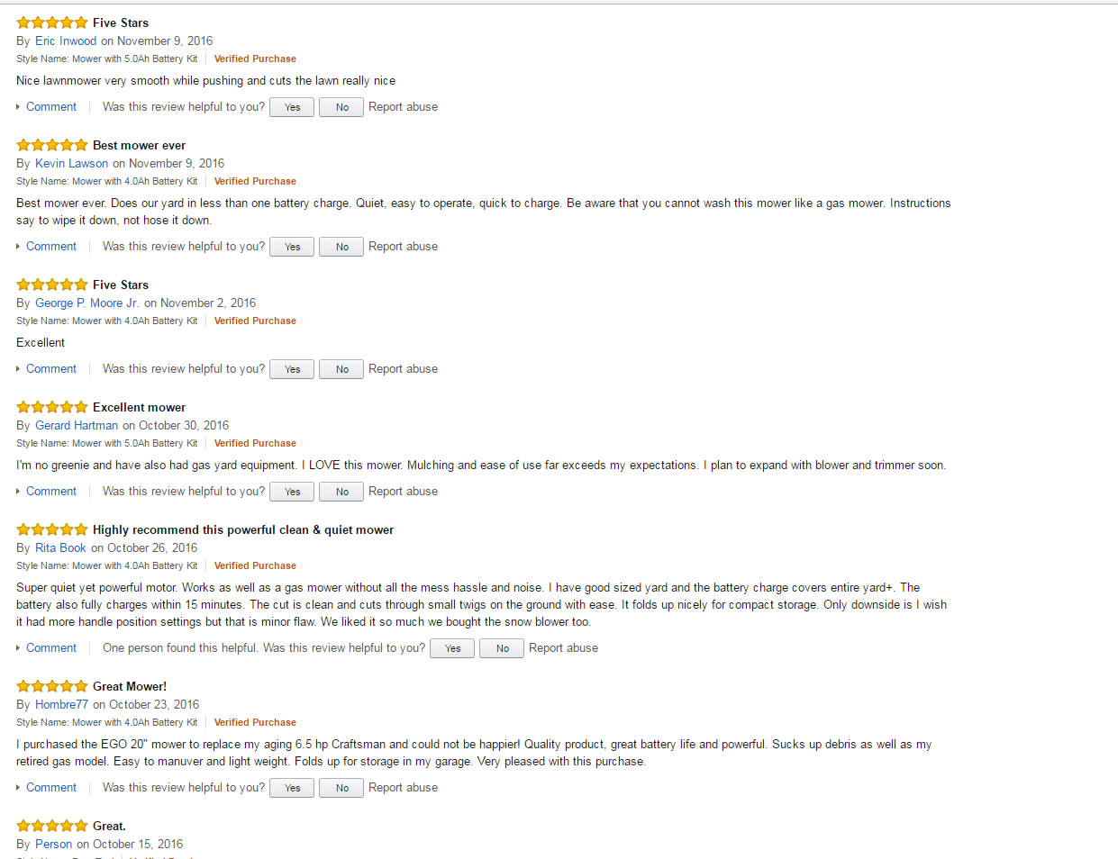 5 star reviews from Amazon.com