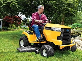 Cub Cadet XT lawn tractor in action