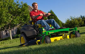 mowing around obstacles with poulan lawn mower
