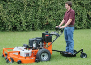 this commercial walk behind mower is also a stand on mower