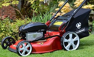 Gas mower with rear bag