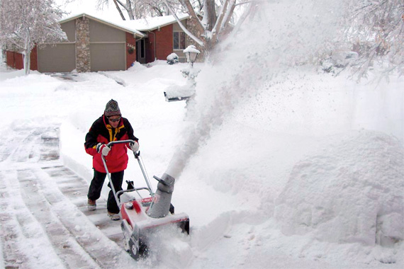 single stage snow blower in action